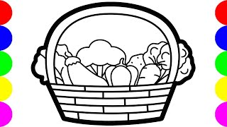 How To Draw Vegetable Basket For Kids Easy Easy Kids Drawing Tutorial