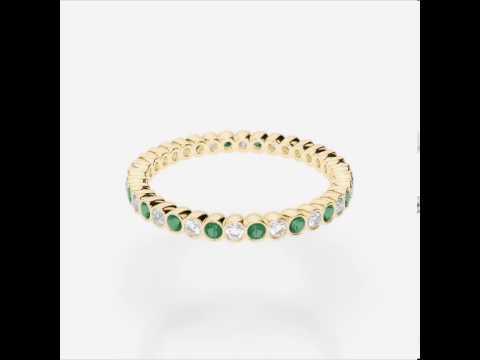 Yellow Gold Emerald Diamond Eternity Ring   YGold Emerald Eternity Ring 1098