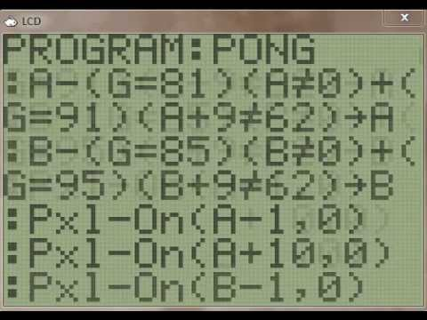 Pong Program on the TI 83/84+ Calculator