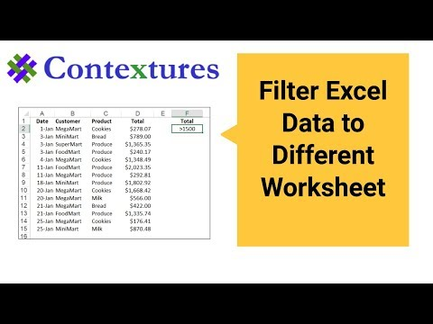 Filter Excel Data to a Different Worksheet