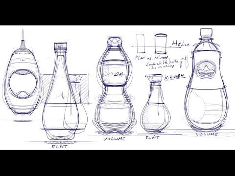 Sketchbook Pro | How to draw Bottles using the Symmetry axis | Industrial design sketching