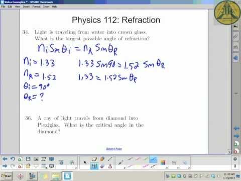 JMH Physics 112: Calculating Max Angle & Critical Angle (#34 & #36)