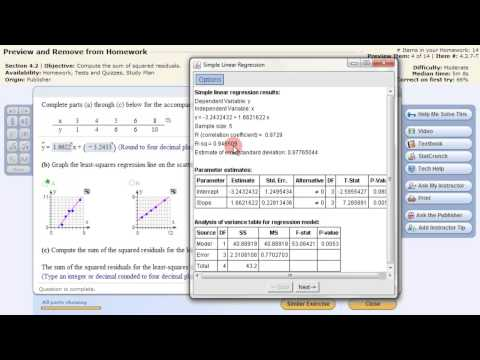 Least Squares Linear Regression StatCrunch