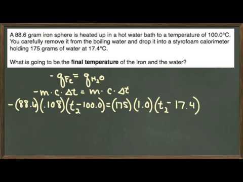 Calorimetry: Iron Dropped Into Water Equilibrium