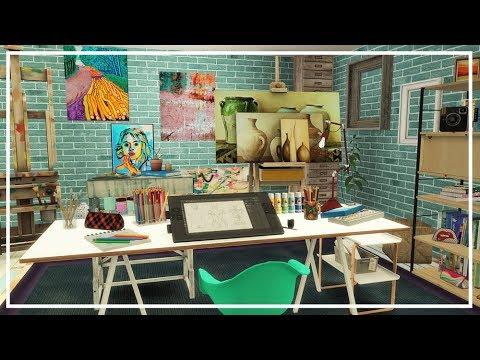 SIMS 4 ARTIST ROOM 💙 Build + CC List