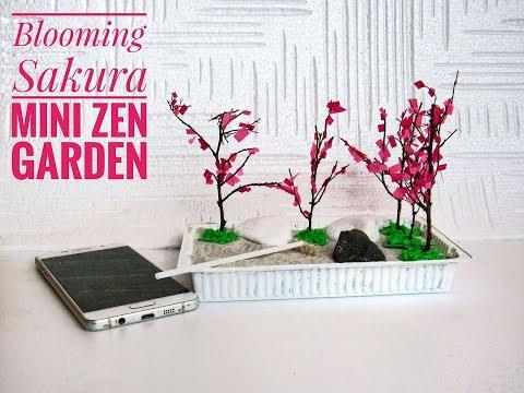 How To Make Mini Blooming Sakura Zen Garden - DIY Stress-Relieving Desk Decoration