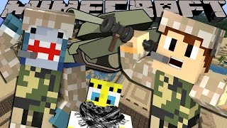 Minecraft Adventure - Sharky and Scuba Steve - SPONGEBOB SAVES THE TROOPS!