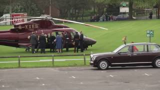 The Queen & Prince Philip depart Leicester by helicopter