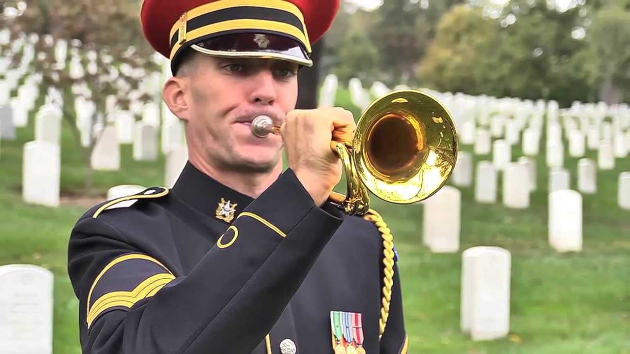 """""""Taps"""" performed in Arlington National Cemetery (summer and winter)"""