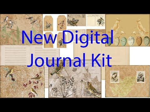 'Vintage Bird' digital journal Kit