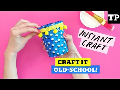 Recycled craft: How to make fabric-covered pots from yogurt containers