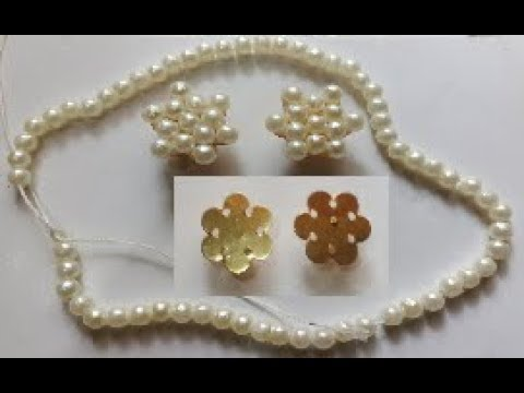 How to make beautiful pearl studs// pearl studs making with needle & thread