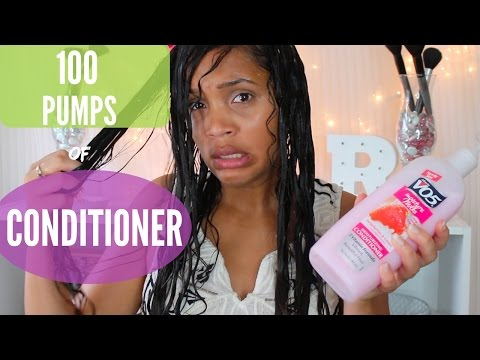 100 PUMPS OF CONDITIONER CURLY HAIR CHALLENGE