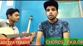 Angrezi luv shuv song chords on guitar cover by Aditya Tomar and Devendar Kumar.