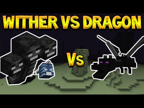 WITHER-BOSS Vs ENDER DRAGON! Minecraft Pocket Edition - Witherboss Vs Enderdragon Battle (MCPE)