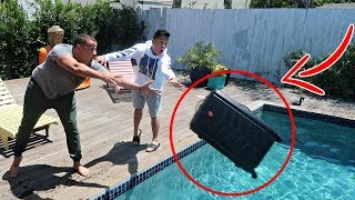 Throwing Roomates Luggage In The Pool Prank 5000 Laptop Inside