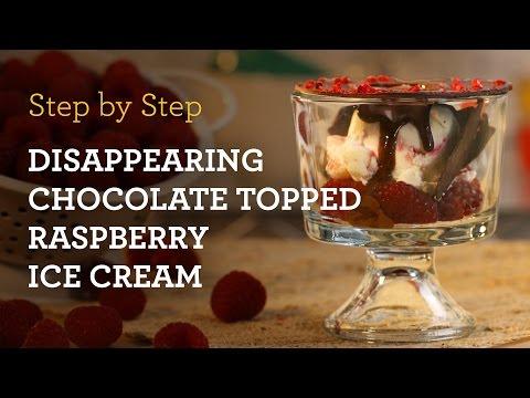 MyCupcakeAddiction's Disappearing Chocolate Topped Raspberry Ice Cream