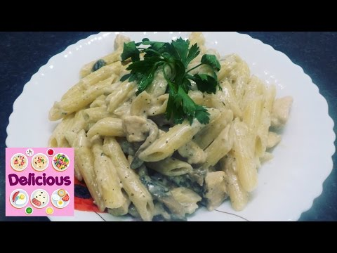 How to make Homemade Chicken Pasta Penne with Mushrooms & Cream Sauce - Easy Recipe - Delicious