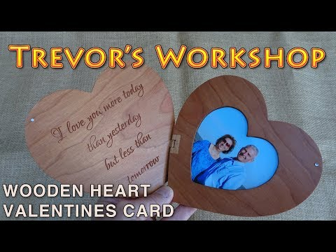 wooden heart shaped greeting card for valentines day