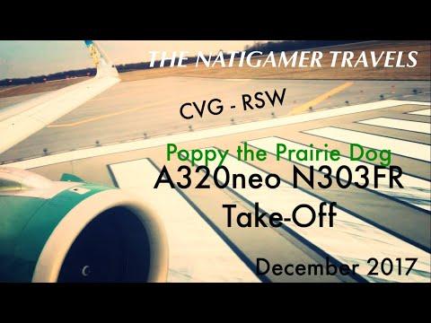 Frontier Airlines Take-Off | CVG / Cincinnati - RSW | A320neo N303FR | Poppy the Prairie Dog