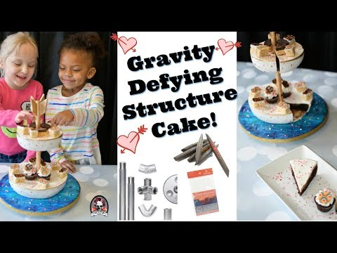 Gravity Defying Structure Serving Tray Cake with Innovative Sugar Works