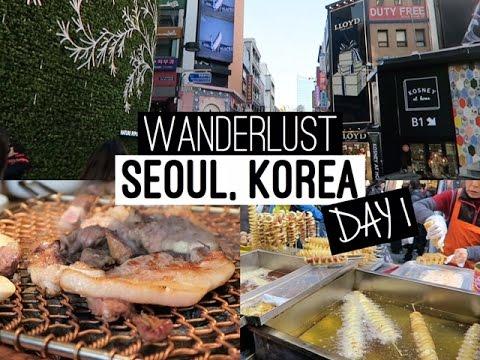 VLOG: Seoul, Korea Day 1   Myeongdong Shopping & Street Food