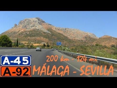 200 Km - Málaga a Sevilla  (A-45/A-92) , Andalucía / 124 mi, Málaga to Seville , Andalusia , Spain.
