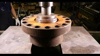 Real work with hydraulic press: Some heavy duty maintenance work with full 100 tons