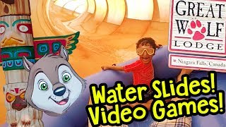 GREAT WOLF LODGE NIAGARA FALLS! HUGE Water Slides + Video Games Arcade CANADA ✳ TottyChoCho