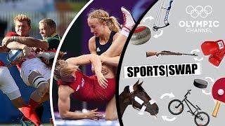Rugby 7s Vs Wrestling With Sam Cross & Sofia Mattsson | Sports Swap