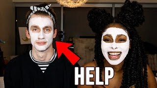 Girlfriend FORCES me to do skin routine *PAINFUL*