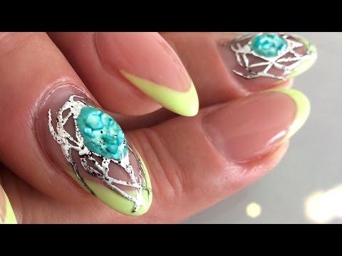 Stunning Liquid Gemstone Design Morror Shine Nail Art by Goda ❤