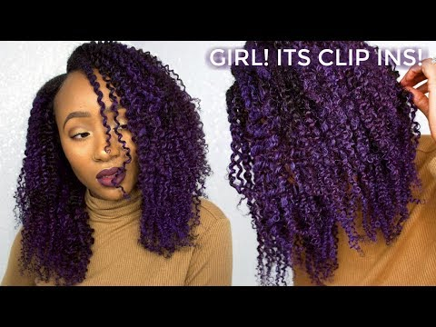 PURPLE TWIST OUT using Kinky Coily Clip Ins + Loreal Hair Chalk | feat Protective Styles Hair