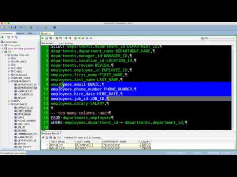 Going from SELECT * To Just the Cols You Want in Oracle SQL Developer