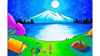 Cara Menggambar Pemandangan Moonlight Drawing Scenery Moonlight Dengan Gradasi Warna Oilpastel