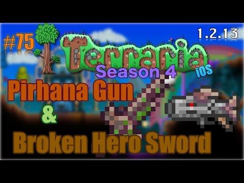 Let's Play Terraria (1.2.13) iOS- Broken Hero Sword & Pirhana Gun! Episode 75