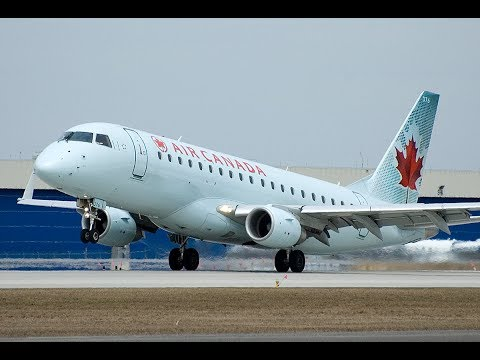 Air Canada Embraer E 175 Takeoff, Cockpit, and Landing Trip