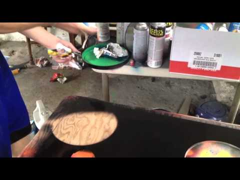 Spray paint on glass