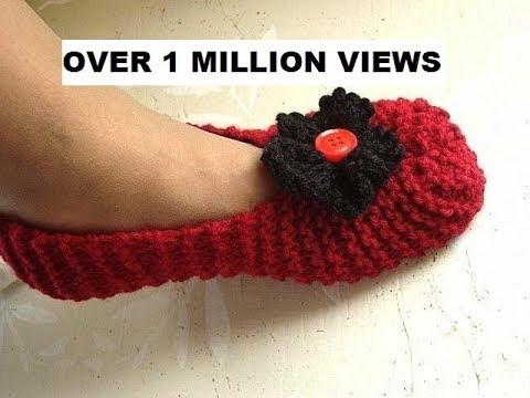 Knitted slippers for beginners, free knitting video for unisex slippers for men or women.