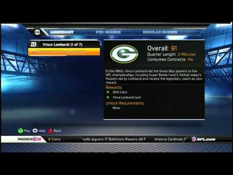 [SGCEC] Madden NFL 13 Ultimate Team: Team Captain, Reward Packs, Vince Lombardi Solo Challenge