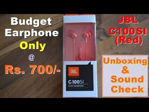 #Unboxing : JBL C100 SI EARPHONE | JBL | By HARMAN | HEADPHONE | BUDGET EARPHONE |