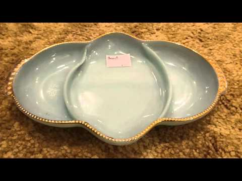 Vintage Server: Blue milkglass sam strathroyantiquemall