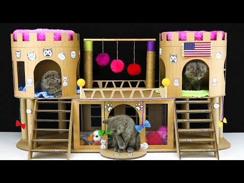 How to make  Beautiful Cardboard Castle for 3 Little Cats