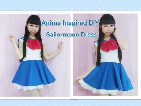 Anime inspired kawaii DIY - How to make sailormoon usagi dress/costume + sailor collar(easy)