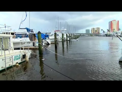 Boats damaged in Fort Myers during Hurricane Irma
