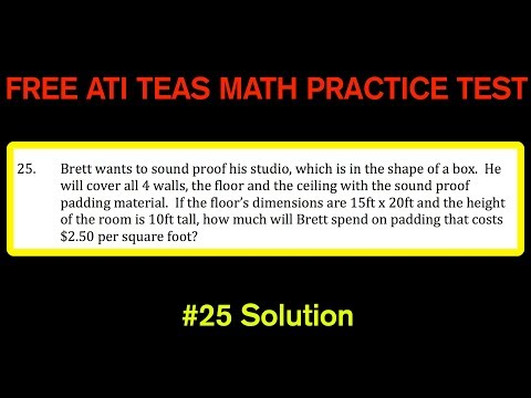 ATI TEAS MATH Number 25 Solution - FREE Math Practice Test - Surface Area of a Box and Cost