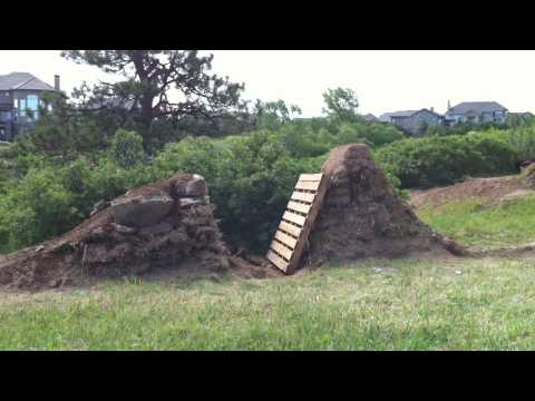 Bike jumps in backyard