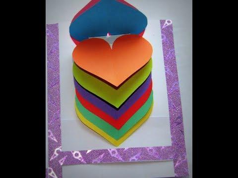 DIY -Pop-Up Tutorial/ Easy Valentine Card   Hearts Pop Up Card/ paper craft
