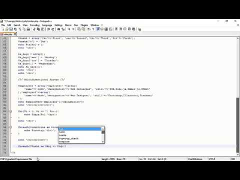 PHP Tutorial | Printing Associative Arrays with thier keys using Foreach Loop part 38