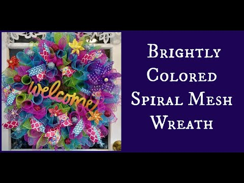 DIY Brightly Colored Spiral Mesh Wreath
